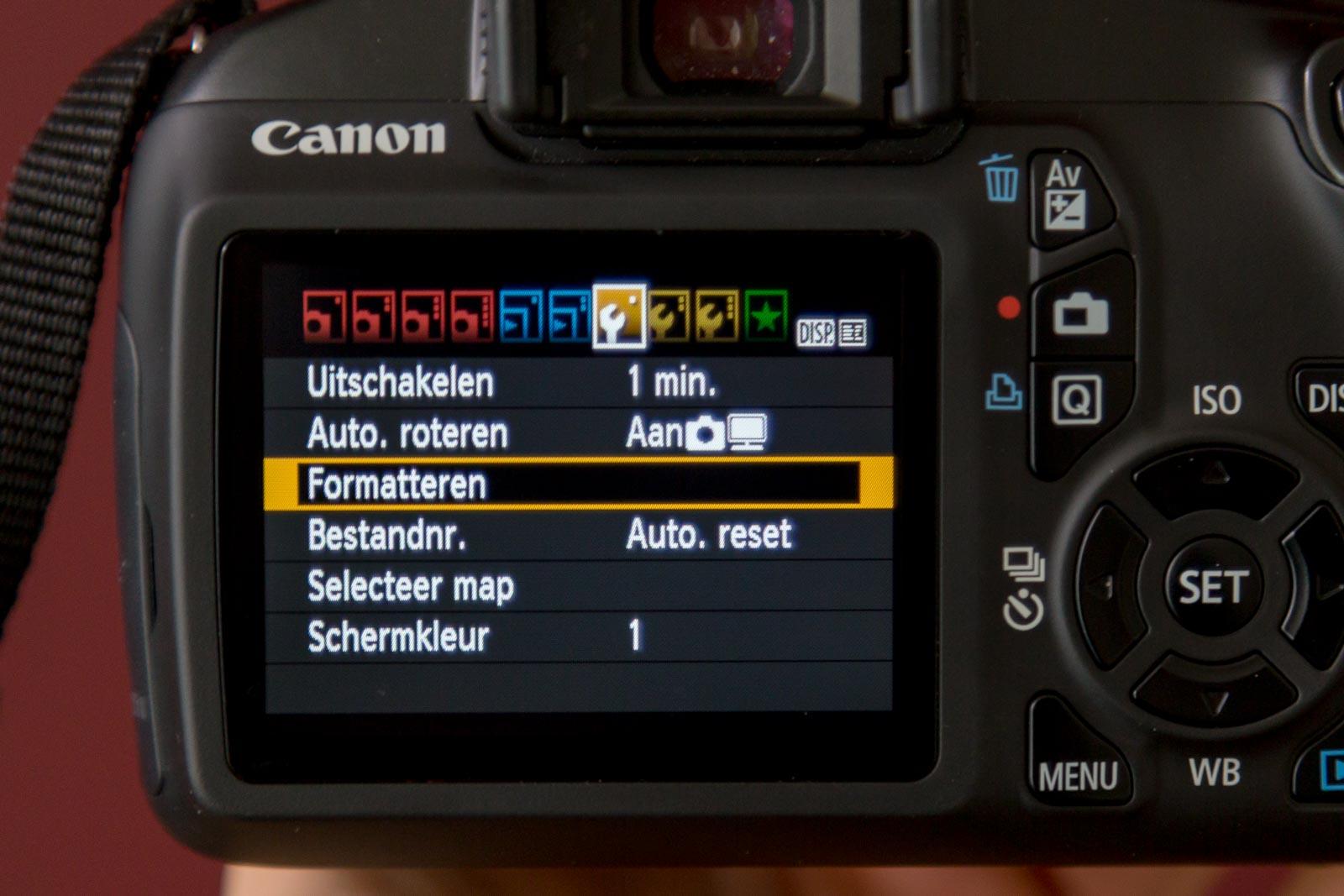 Canon menu optie formatteren